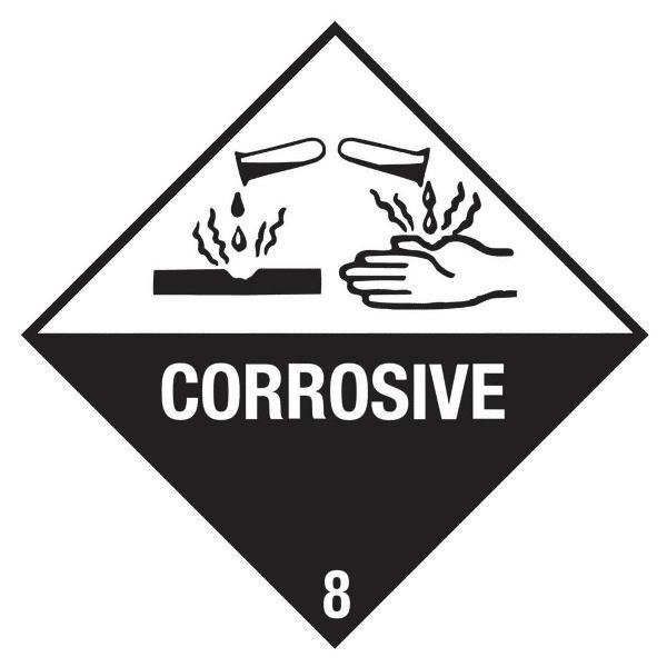 "Gefahrgutetikett Klasse 8 mit Texteindruck""CORROSIVE"""