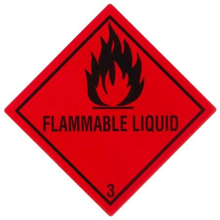 "Gefahrgutetikett Klasse 3 mit Text ""FLAMMABLE LIQUID"""